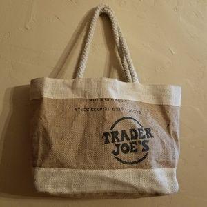"""RARE Trader Joe's """"Jute"""" Burlap Tote Bag"""